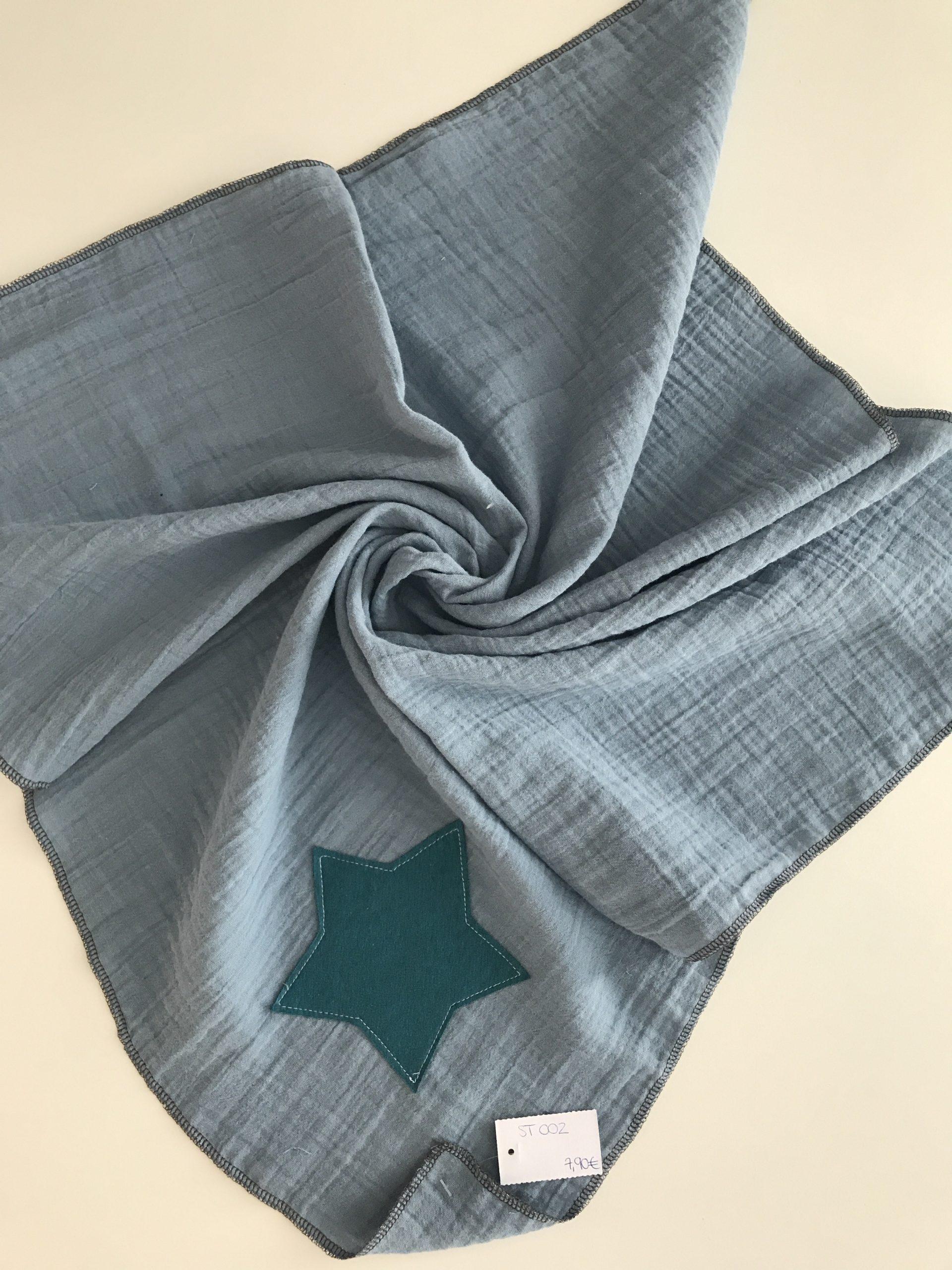 Spucktuch aus Moltonstoff ca. 65x65cm, Grau mit grünen Stern