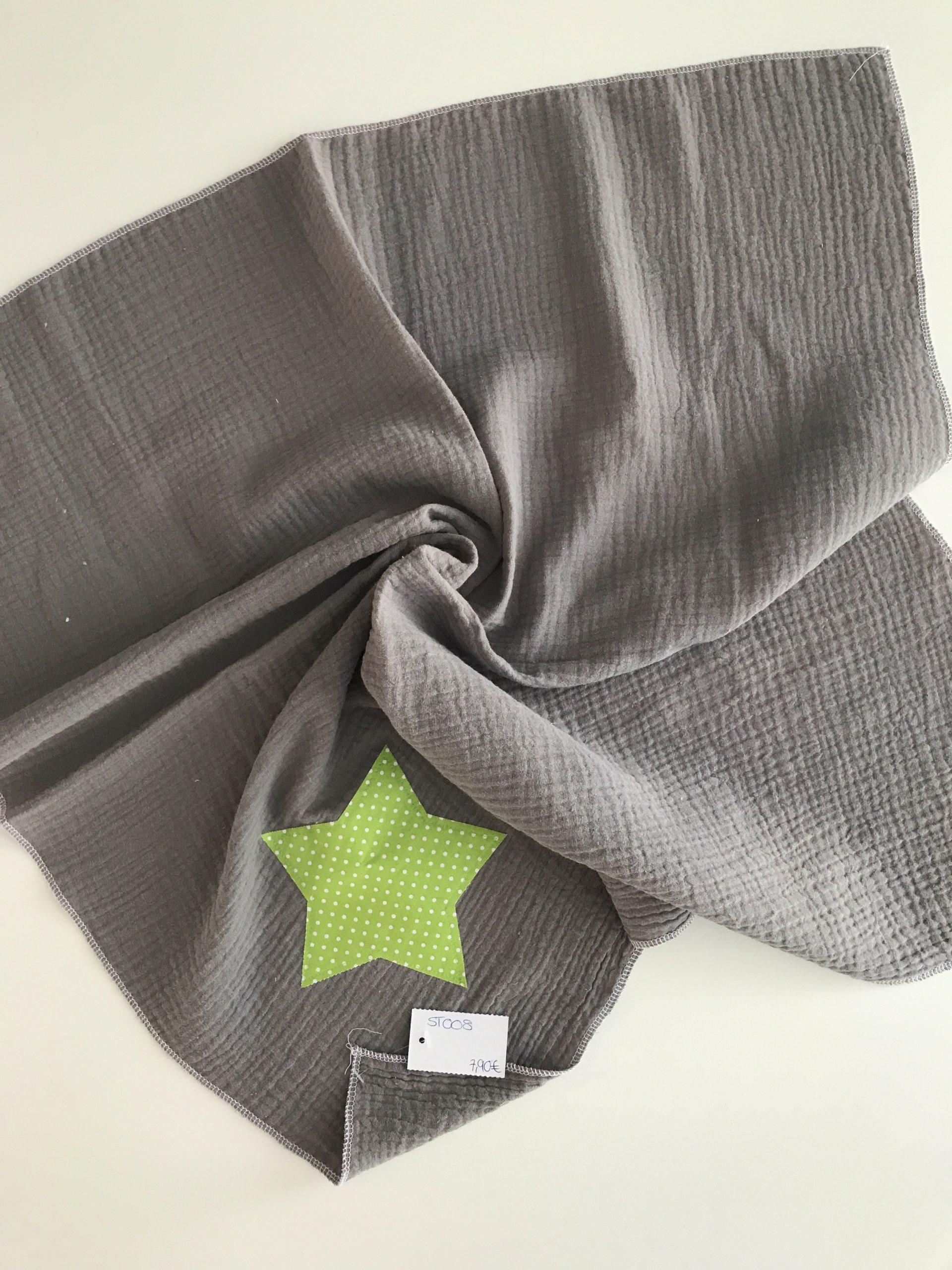 Spucktuch aus Moltonstoff ca. 65x65cm, Grau mit hellgrünen Stern