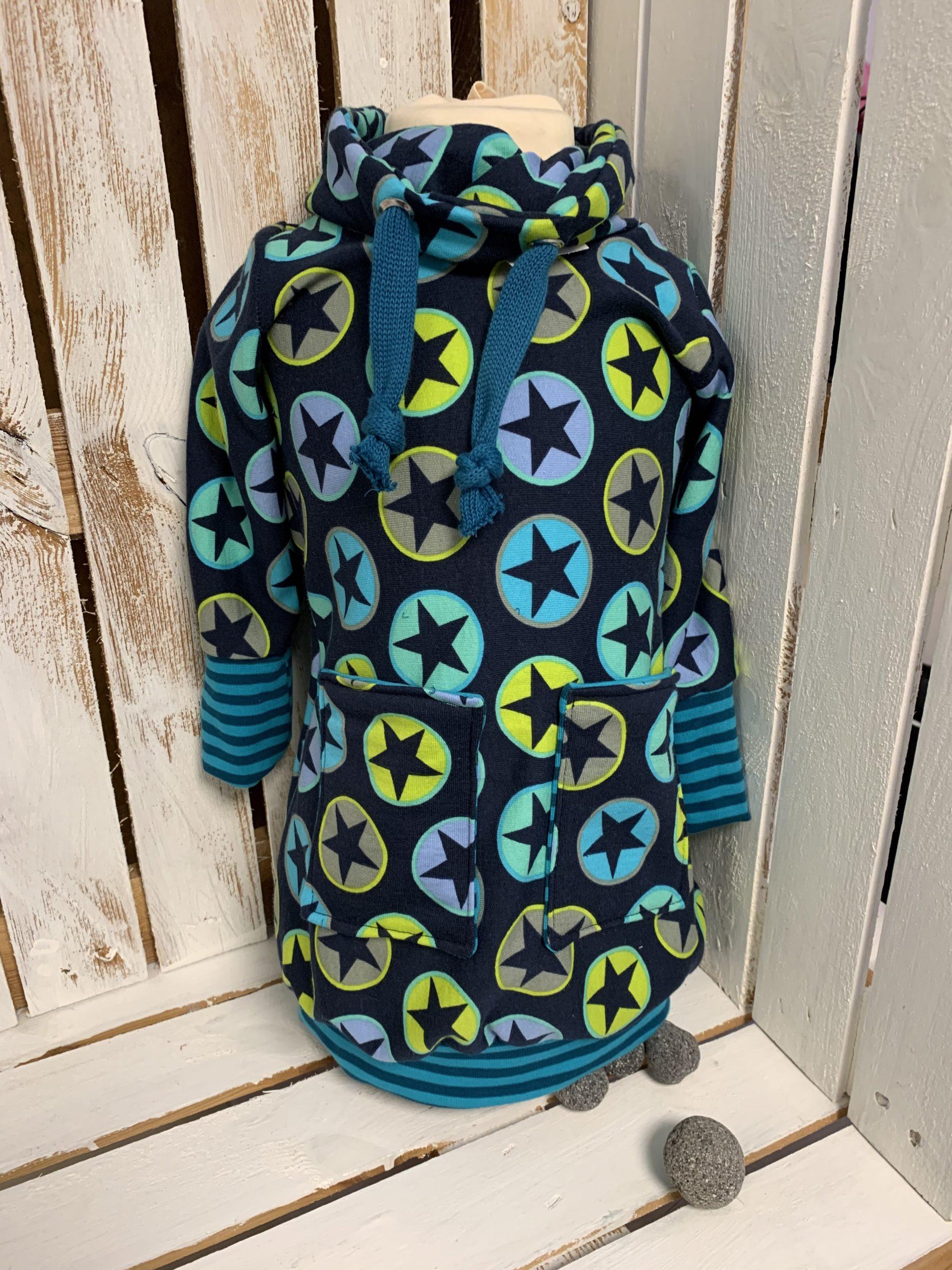Kindersweatshirt blau/grün mit Sternen
