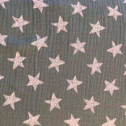 Musselin Double Gauze – Grau mit weißen Sternen