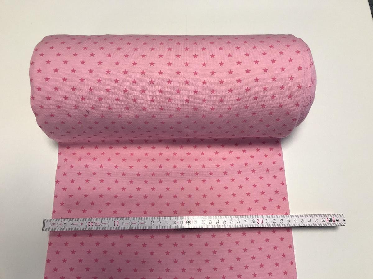 Bündchen – Pink Sternchen Breite 33cm doppelt, glatt
