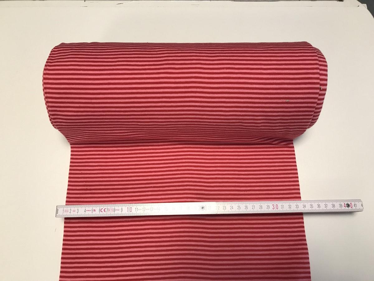 Bündchen – Magenta Streifen Breite 33cm doppelt, glatt