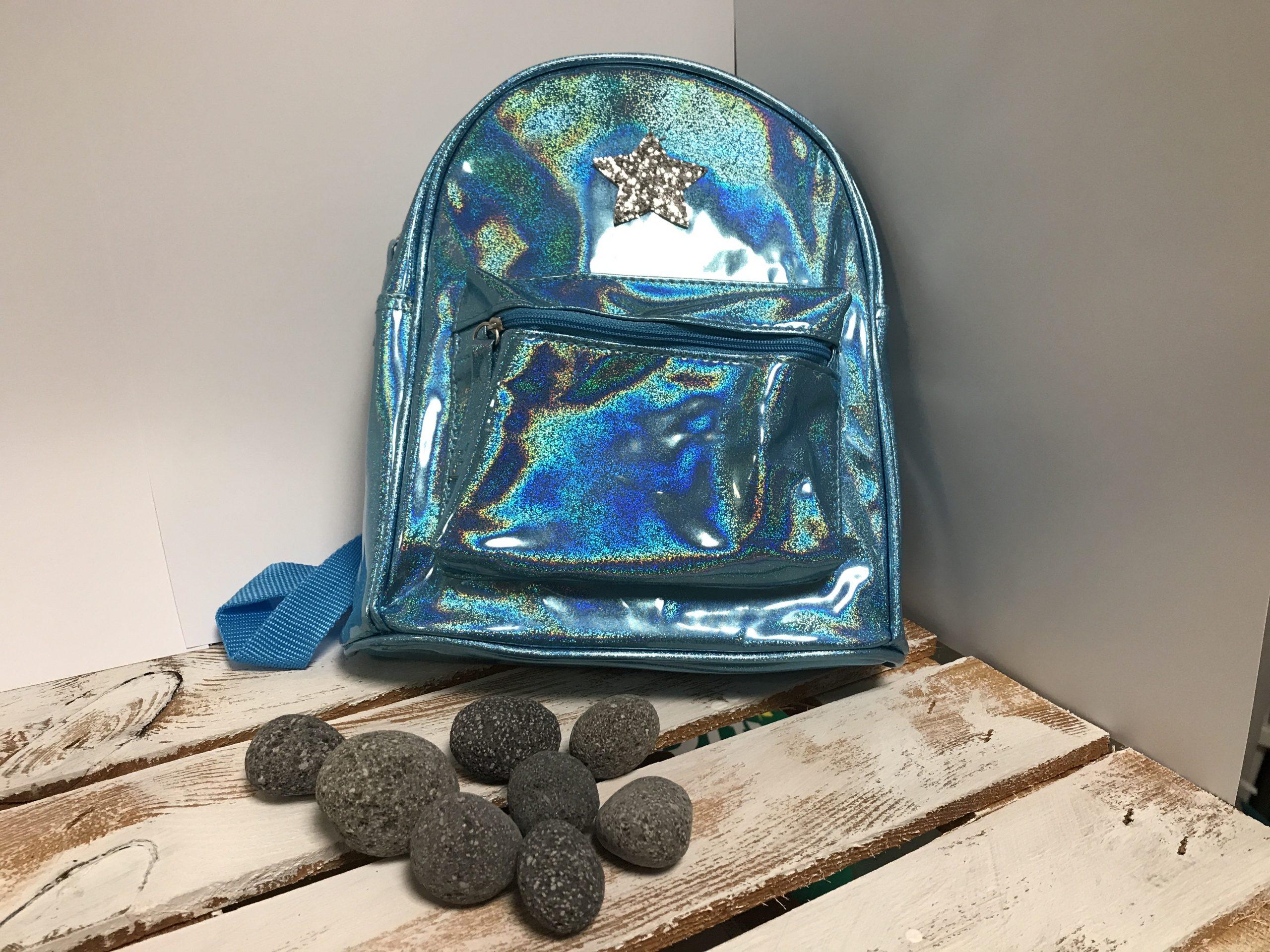 Kinderrucksack – Mädchen Blau Glitzer