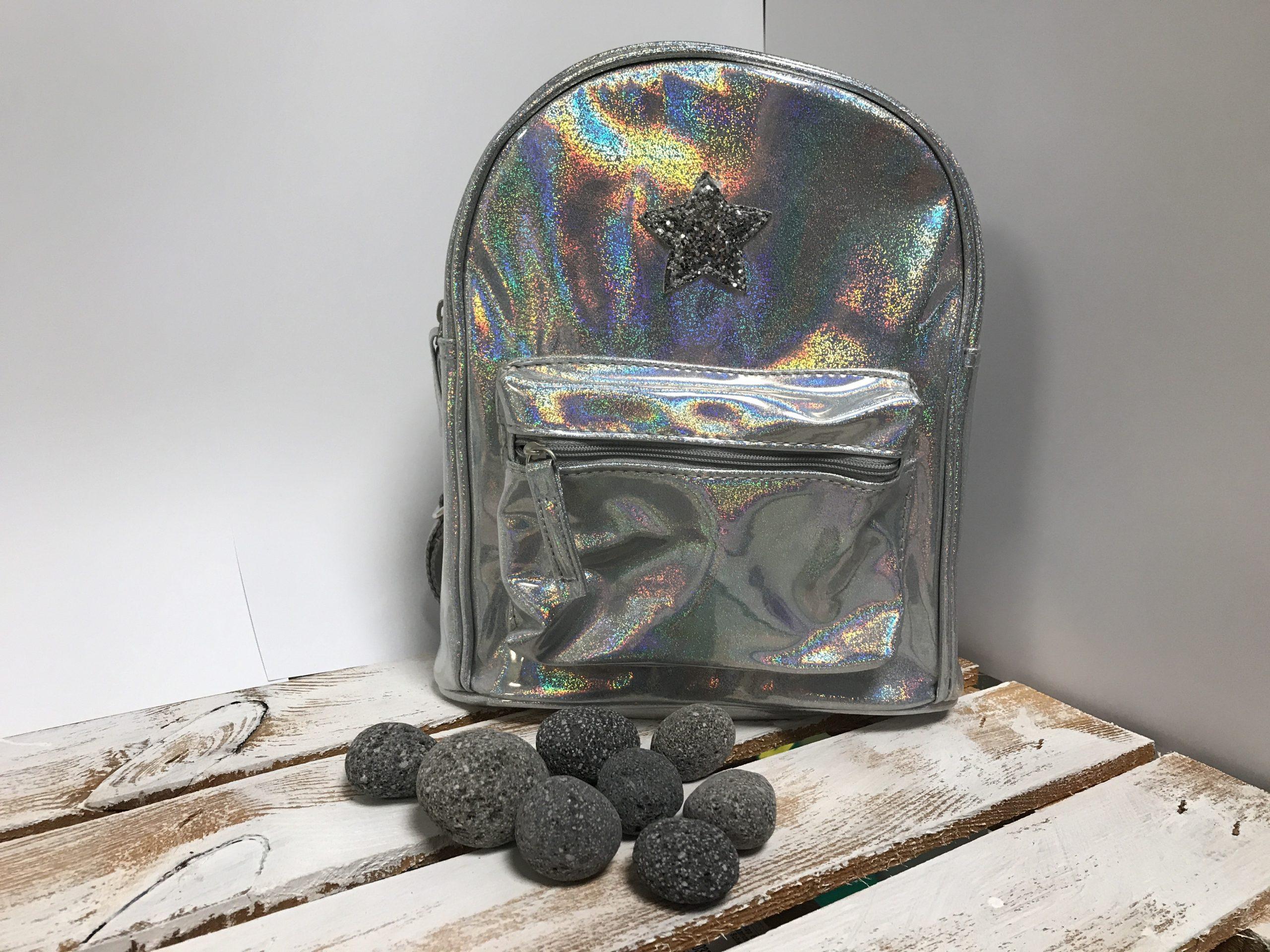 Kinderrucksack – Mädchen Silber Glitzer