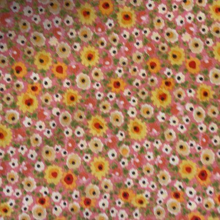 Stoffrest – rosa mit bunten Blumen – 1,45m x 1,1m